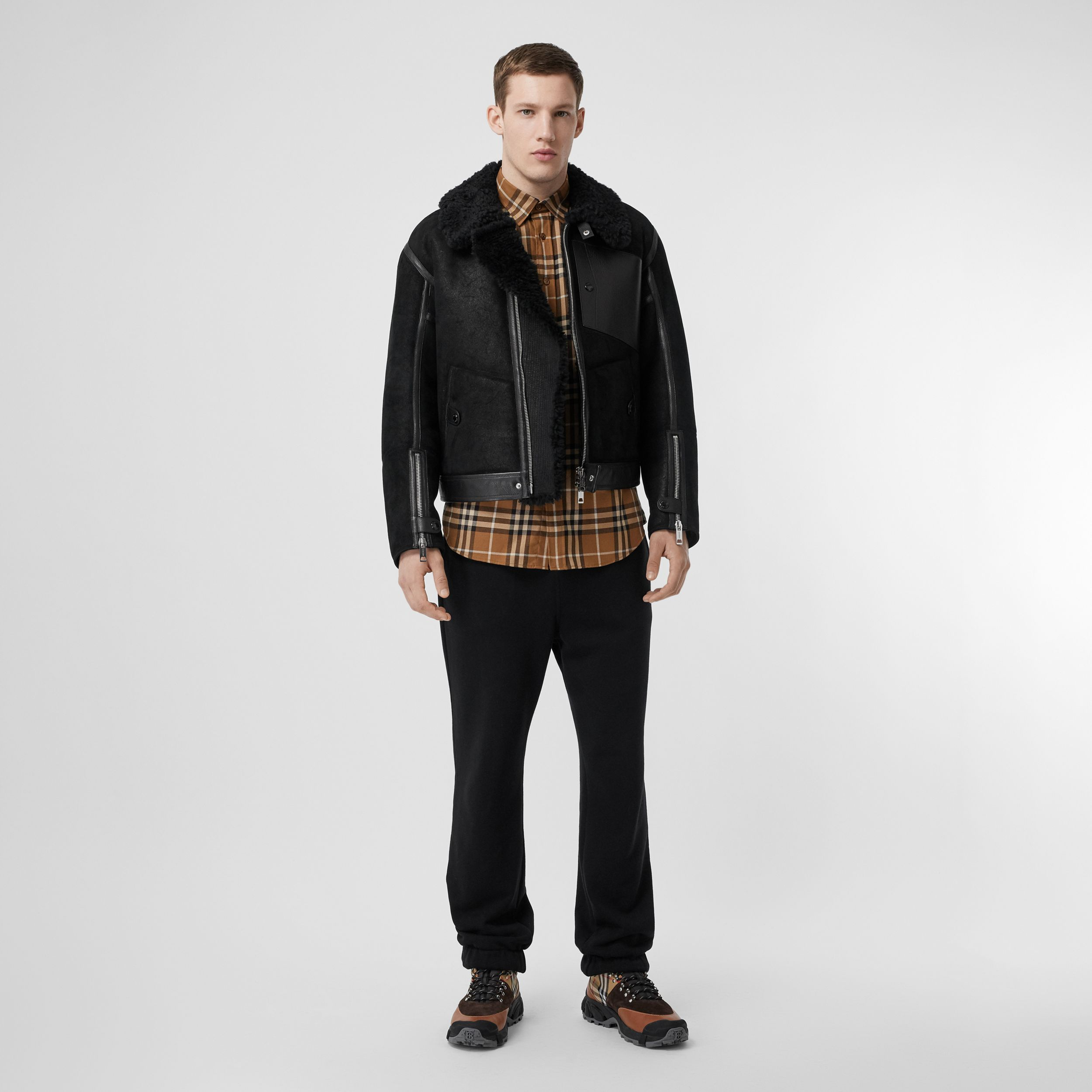 Shearling and Leather Jacket in Black - Men | Burberry - 1