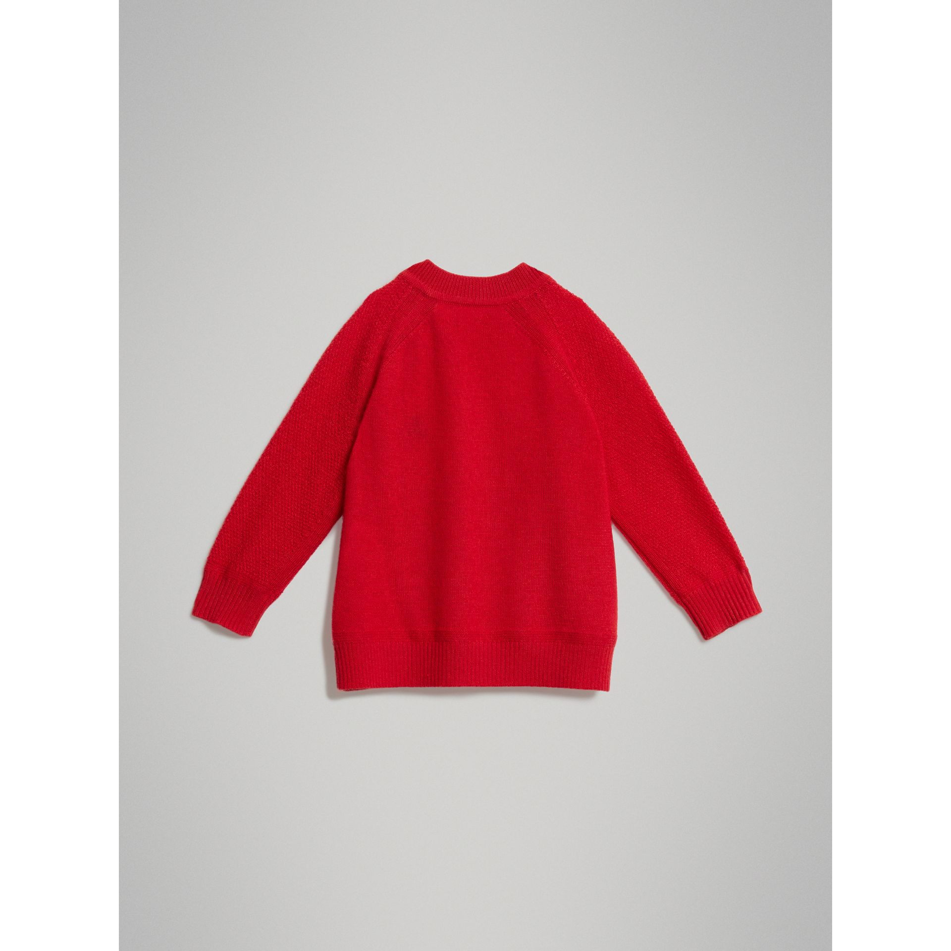 Contrast Motif Cashmere Sweater in Burgundy Red - Children | Burberry United Kingdom - gallery image 3