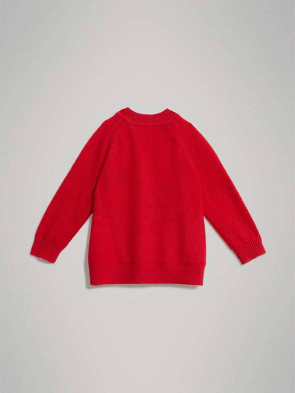 Contrast Motif Cashmere Sweater in Burgundy Red - Children | Burberry United Kingdom - cell image 3