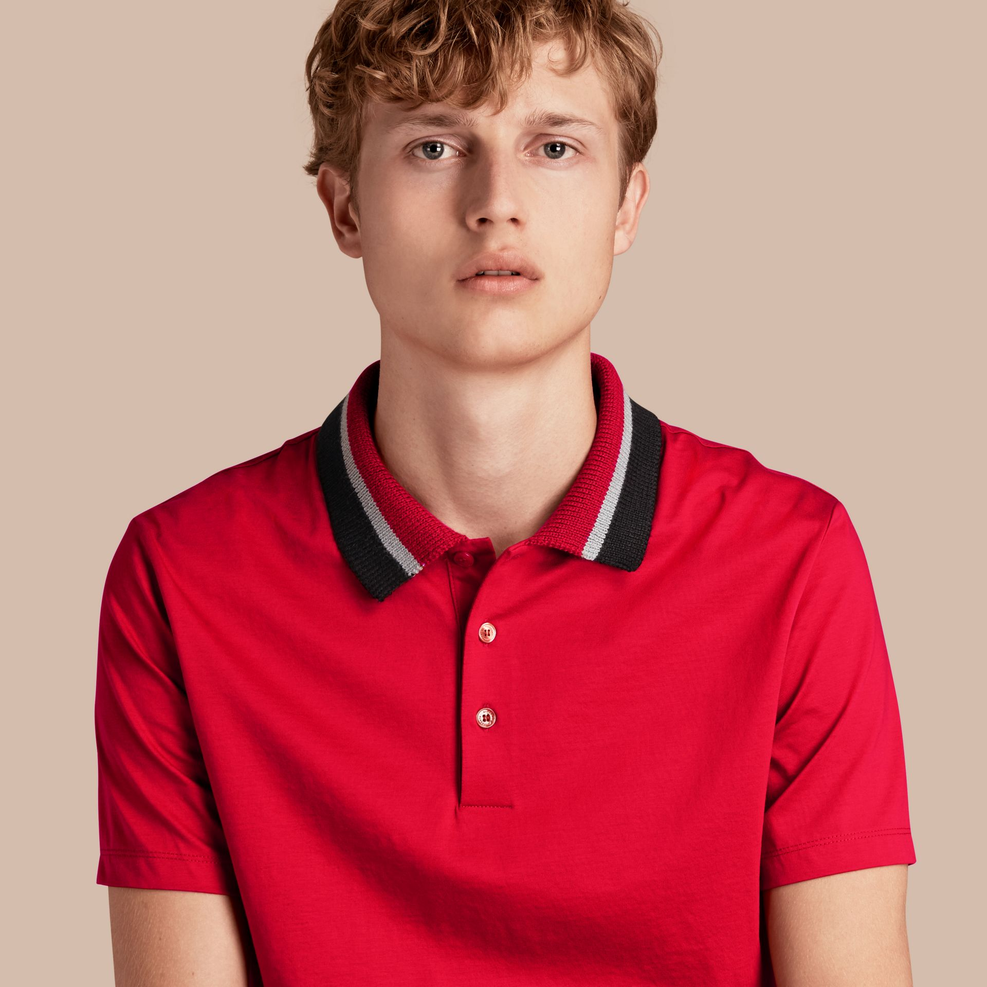 Cotton Polo Shirt with Knitted Collar Military Red - gallery image 1