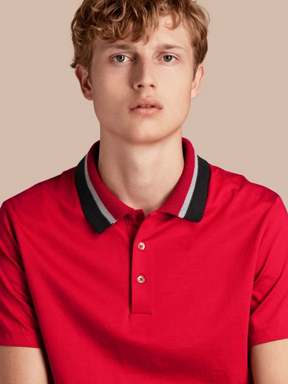 Cotton Polo Shirt with Knitted Collar Military Red