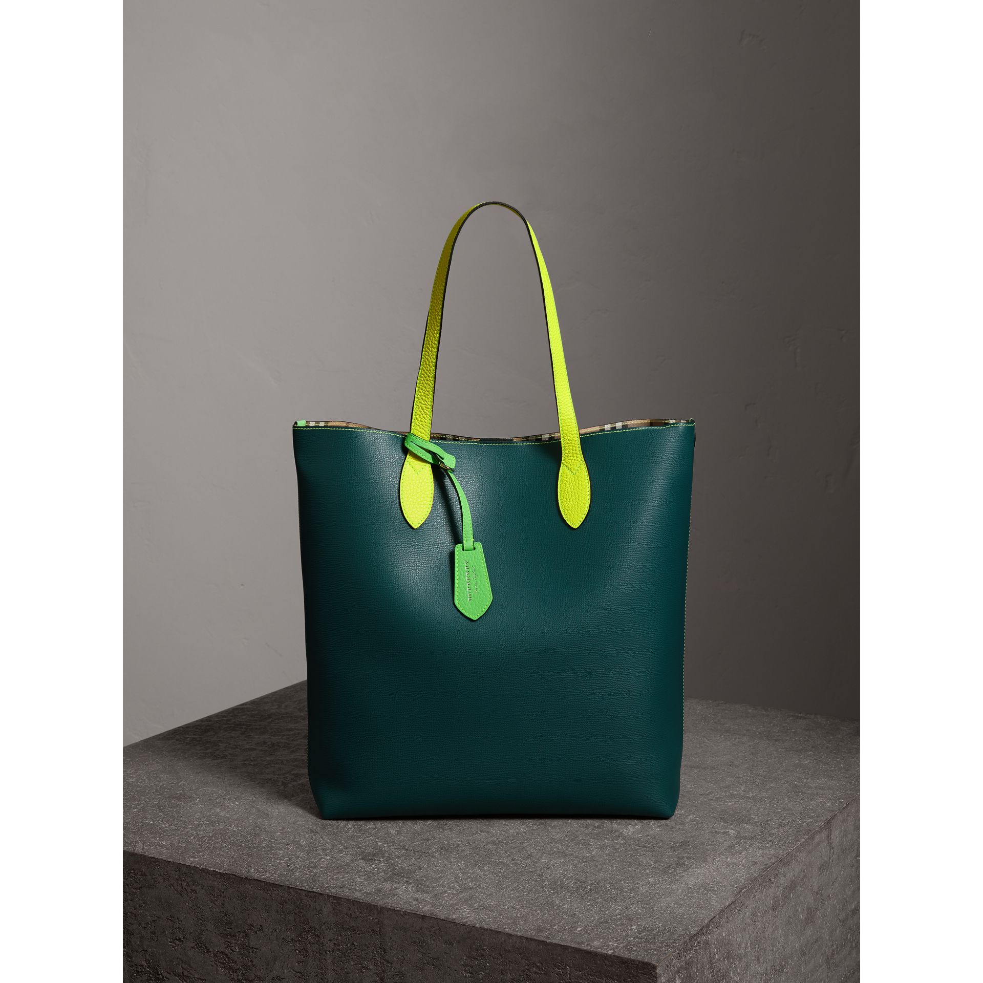 Medium Two-tone Coated Leather Tote in Dark Teal | Burberry - gallery image 0