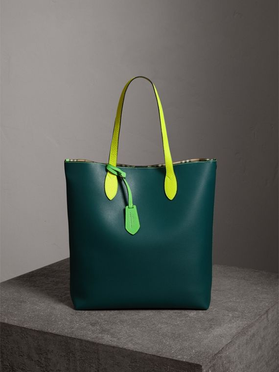 Medium Two-tone Coated Leather Tote in Dark Teal