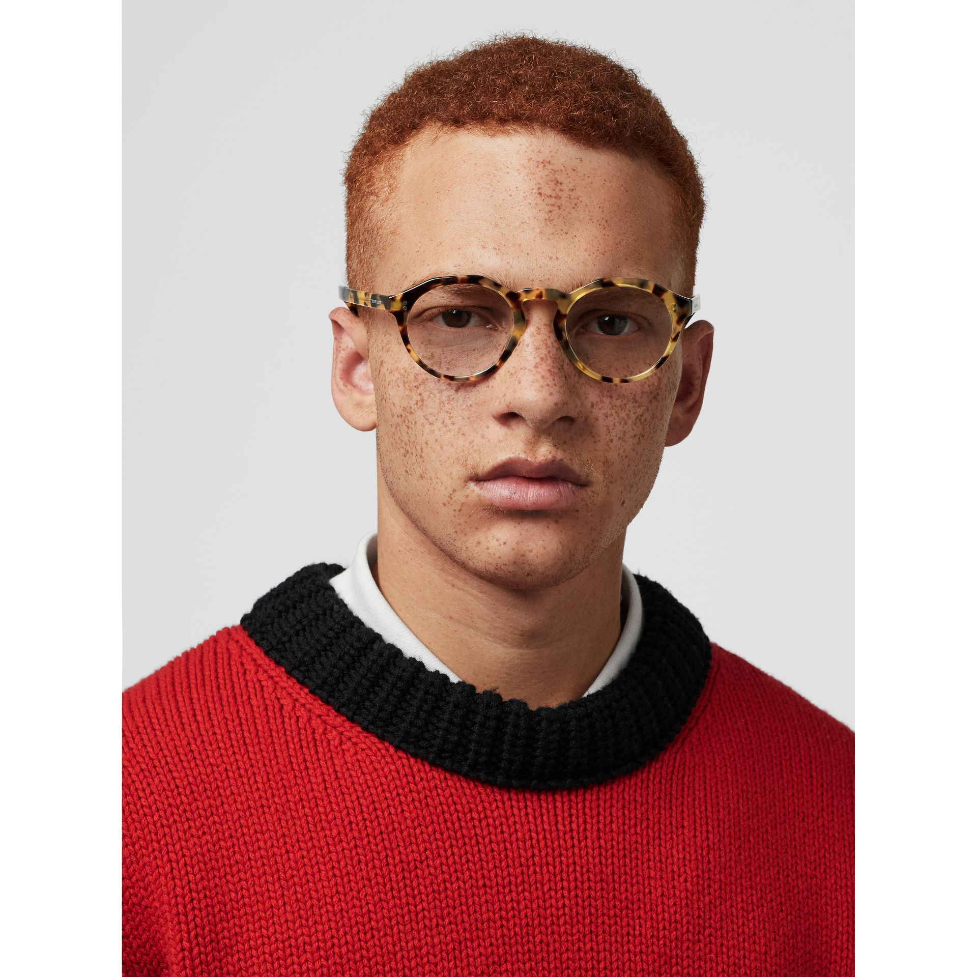 Keyhole Round Optical Frames in Tortoise Shell - Men | Burberry Australia - gallery image 2