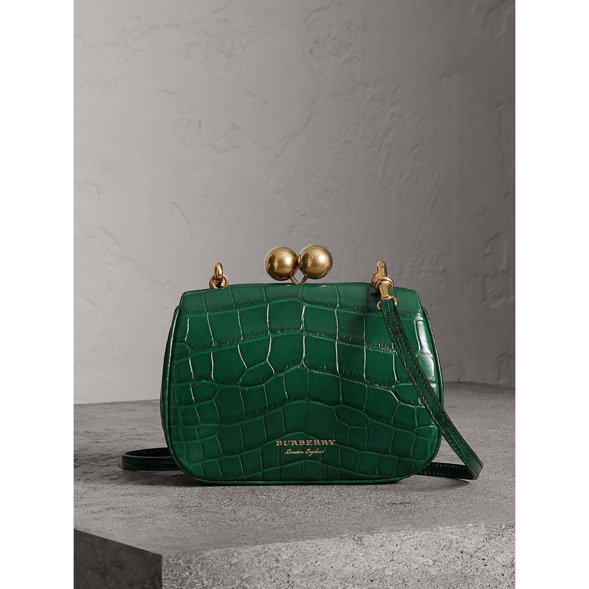 Small Alligator Metal Frame Clutch Bag in Dark Green - Women | Burberry - gallery image 0