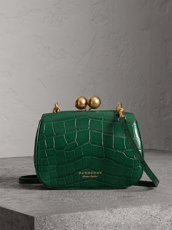 Small Alligator Metal Frame Clutch Bag in Dark Green