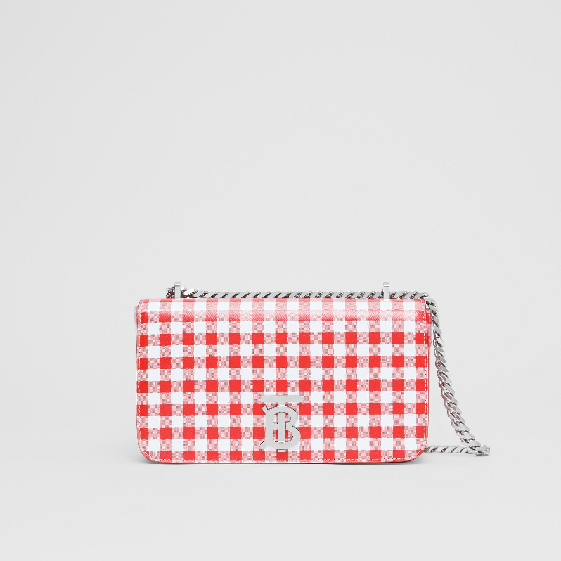 Small Gingham Leather Lola Bag in Red - Women | Burberry - gallery image 0