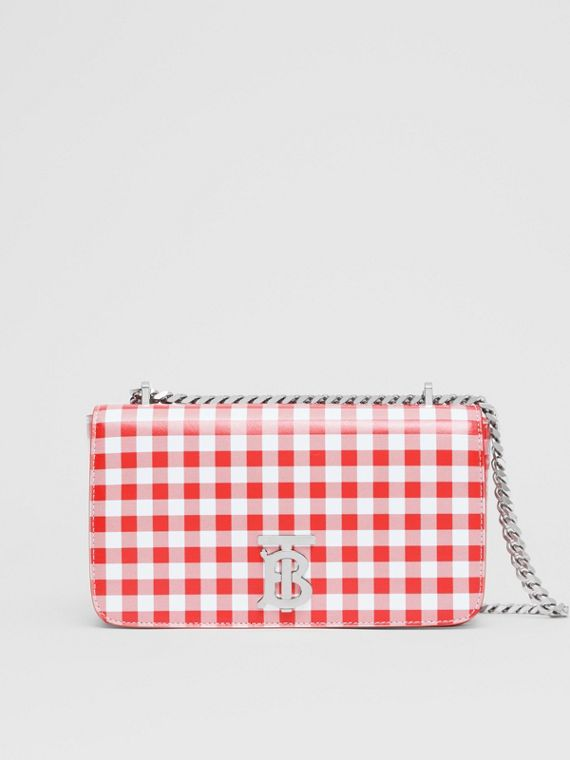 Small Gingham Leather Lola Bag in Red