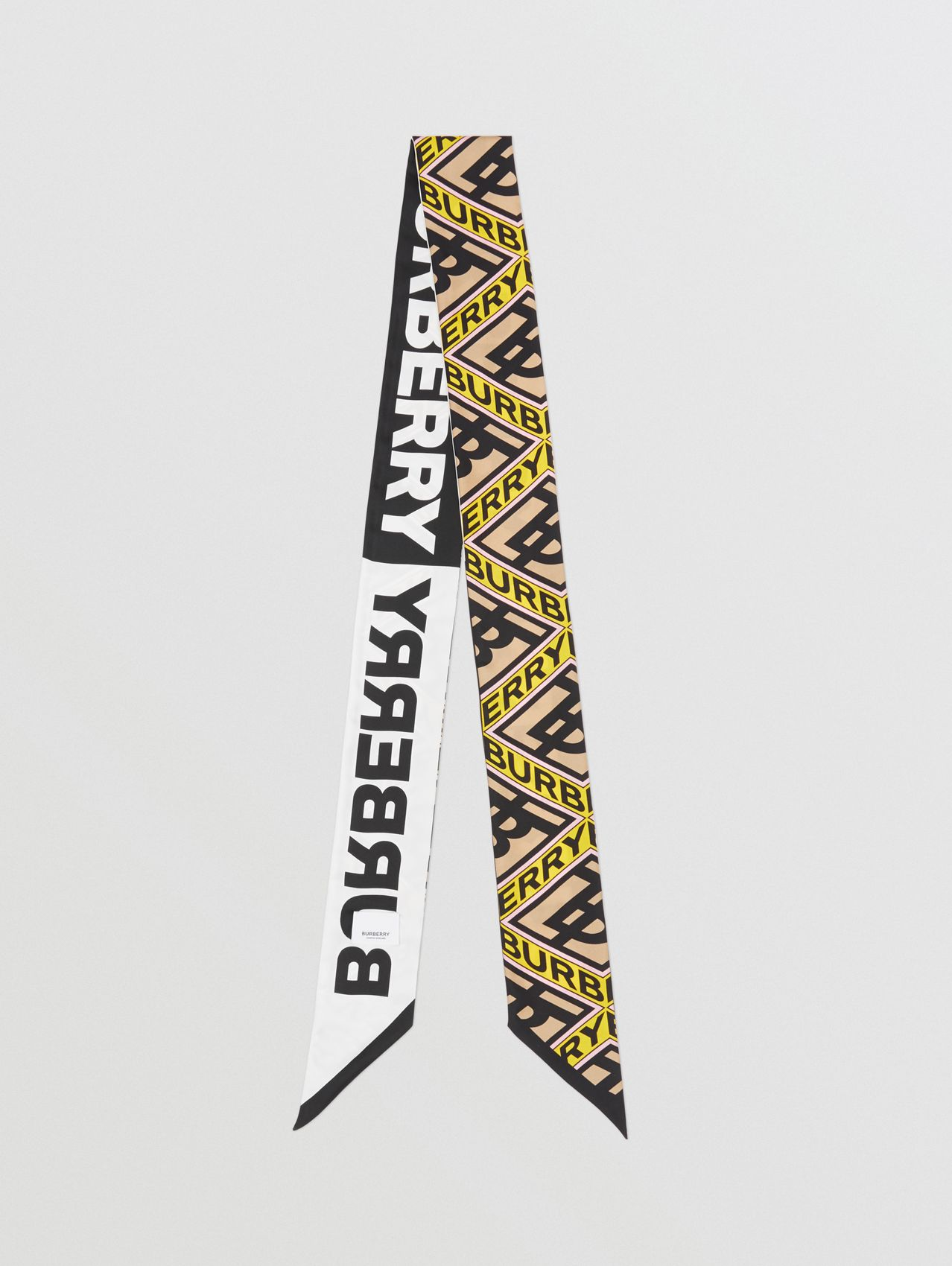 Logo Graphic Print Silk Skinny Scarf in Canary Yellow