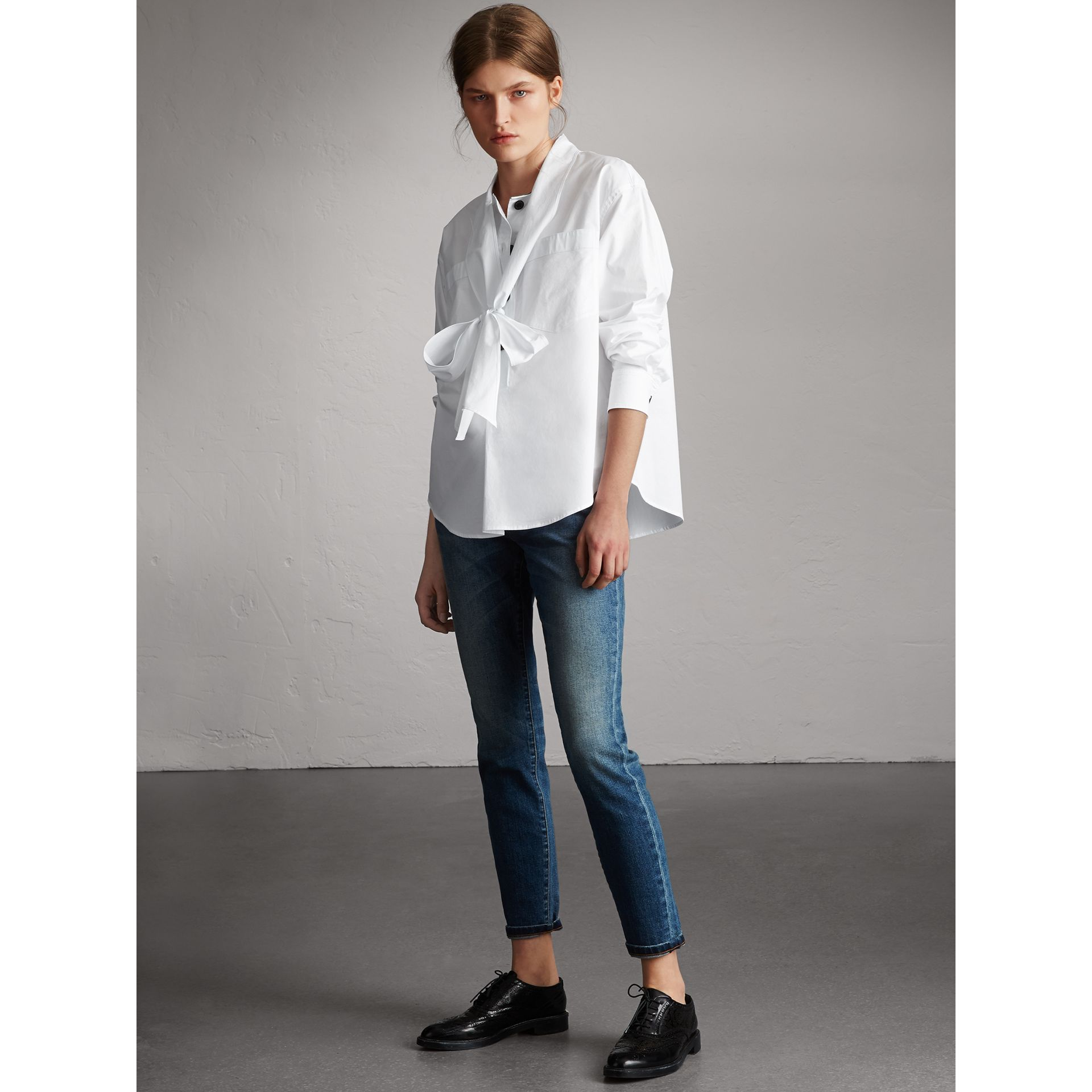Neck Tie Stretch Cotton Shirt in White - Women | Burberry - gallery image 6