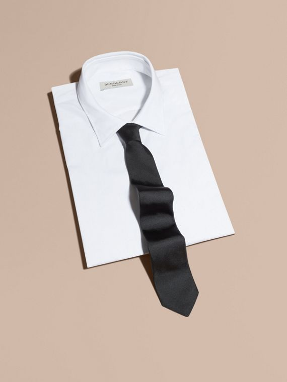 Slim Cut Silk Twill Tie in Black - Men | Burberry - cell image 3