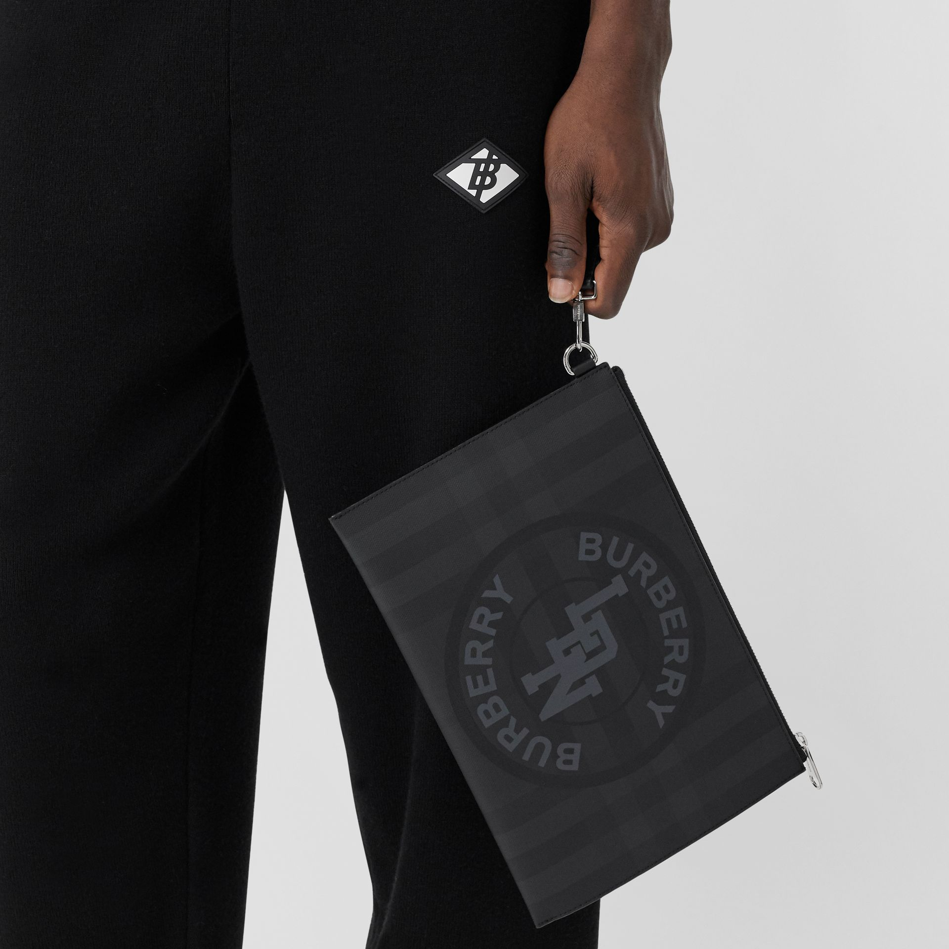 Logo Graphic London Check Zip Pouch in Dark Charcoal - Men | Burberry United States - gallery image 3