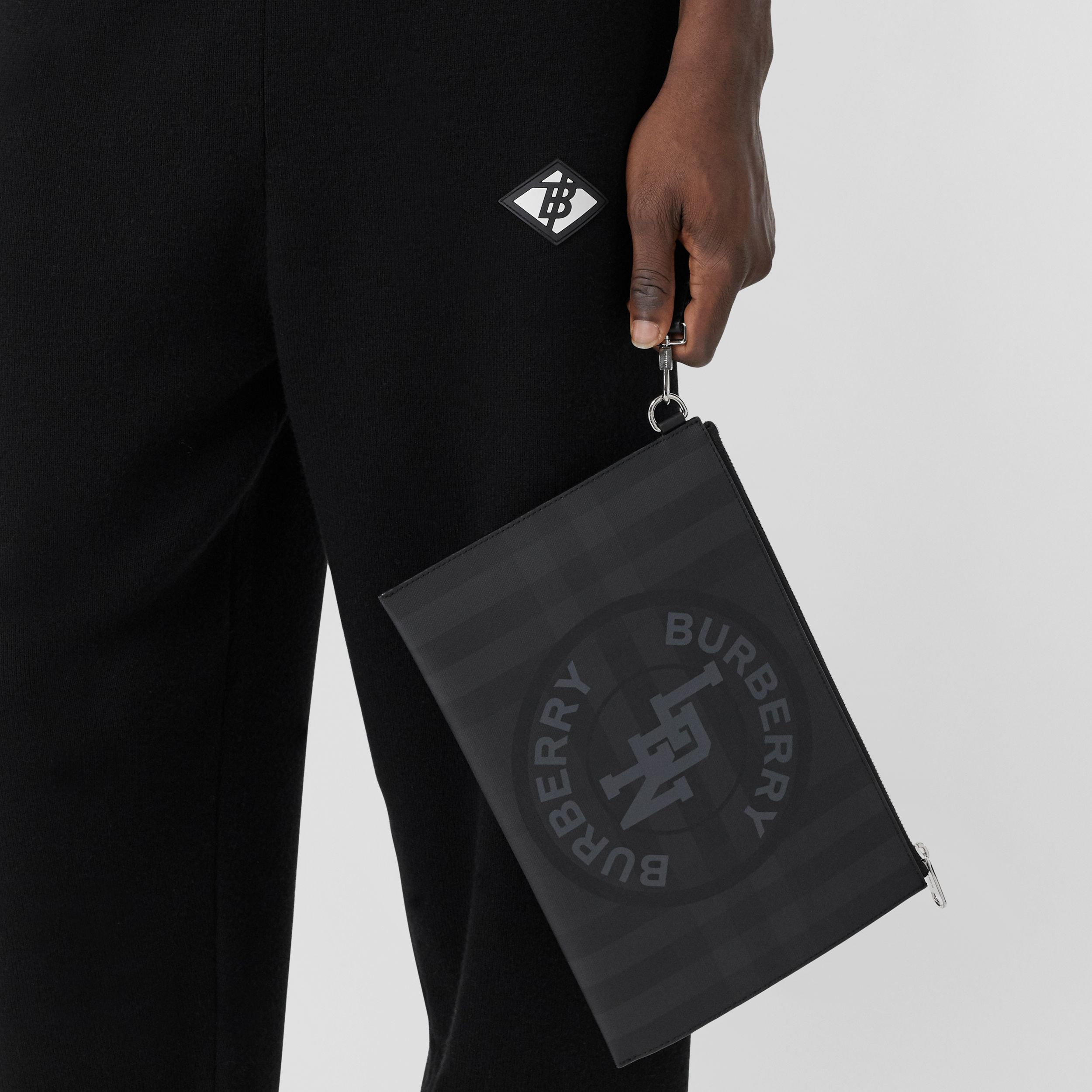 Logo Graphic London Check Zip Pouch in Dark Charcoal - Men | Burberry - 4