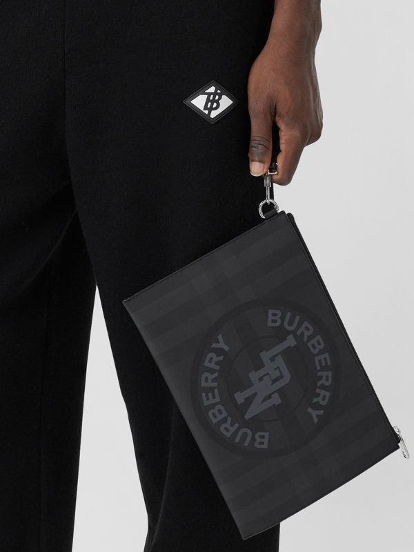 Logo Graphic London Check Zip Pouch in Dark Charcoal - Men | Burberry United States - cell image 3