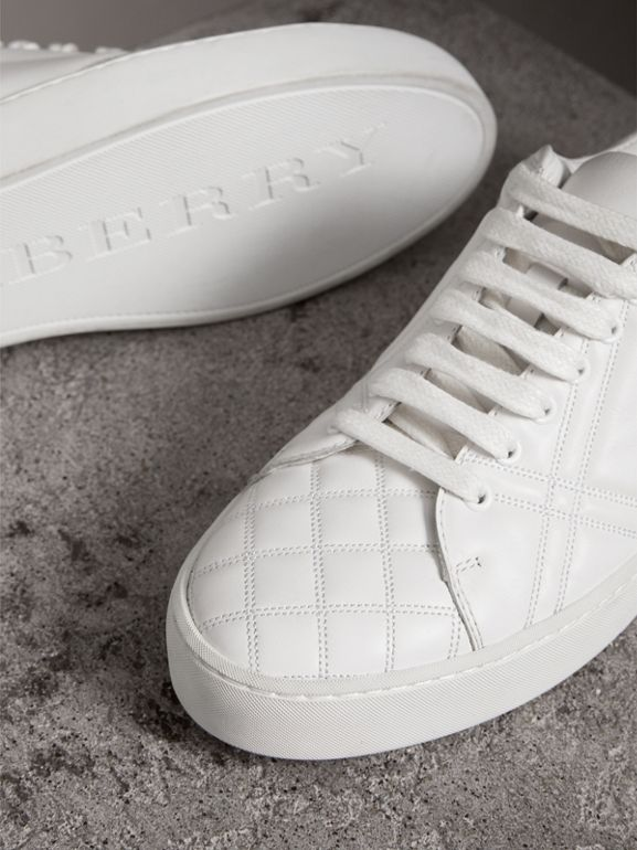 Check-quilted Leather Sneakers in Optic White - Women | Burberry Australia - cell image 1