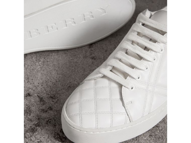 Check-quilted Leather Trainers in Optic White - Women | Burberry - cell image 1