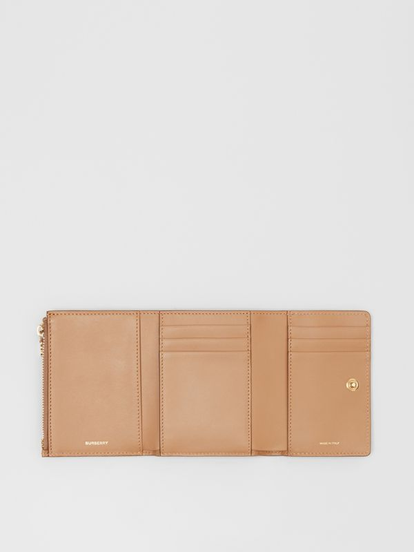 Small Monogram Leather Folding Wallet in Light Camel | Burberry - cell image 2