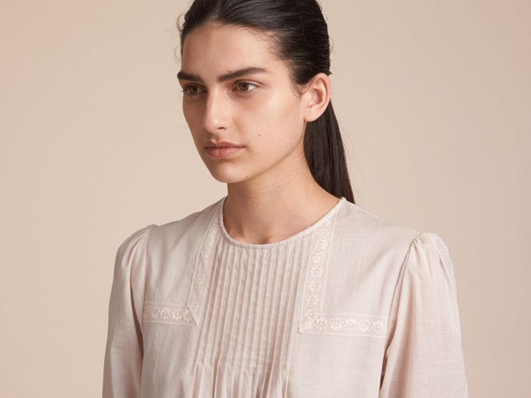 Pintuck and Lace Detail Cotton Dress in Chalk Pink - Women | Burberry Hong Kong - cell image 4