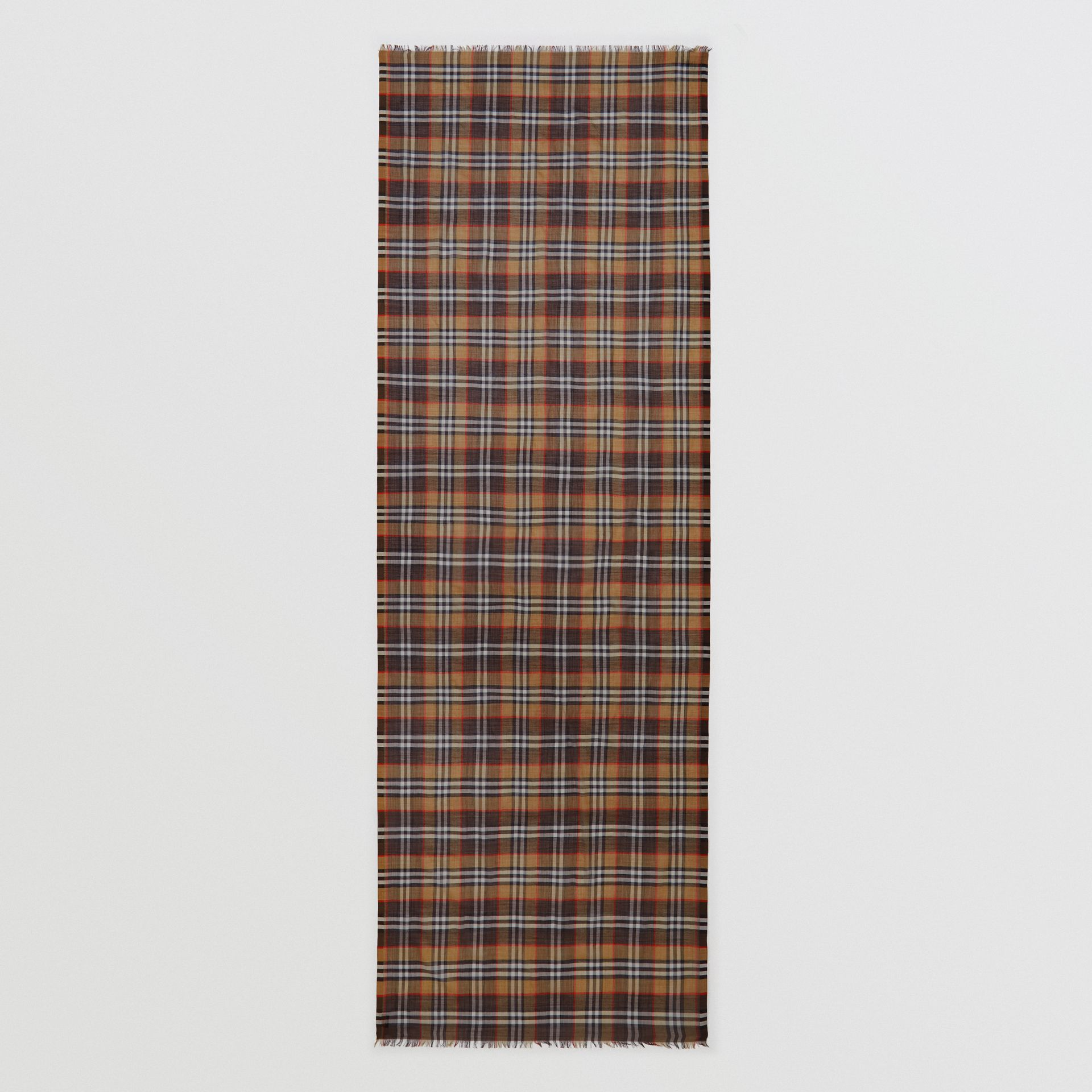 Vintage Check Lightweight Wool Silk Scarf in Mahogany | Burberry United Kingdom - gallery image 4