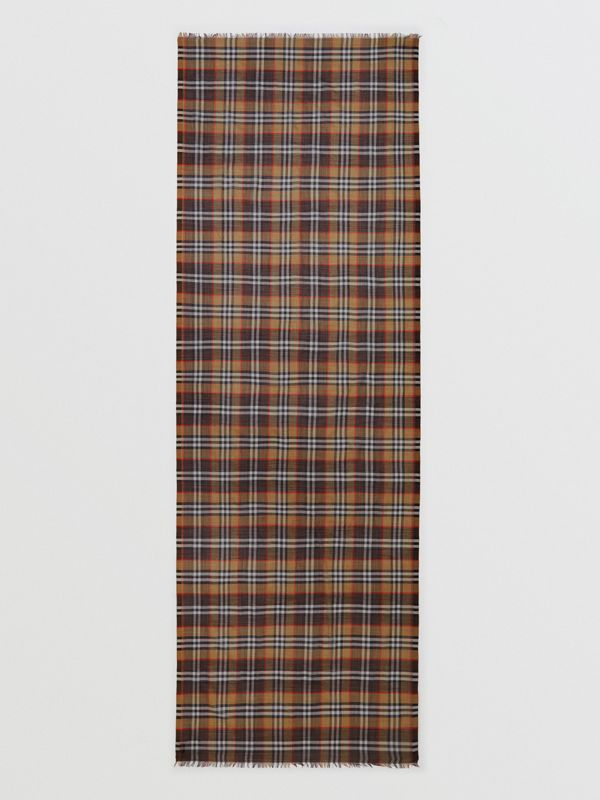Vintage Check Lightweight Wool Silk Scarf in Mahogany | Burberry Hong Kong - cell image 3