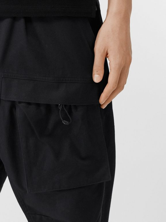 Cotton Cargo Trousers in Black - Men | Burberry - cell image 1