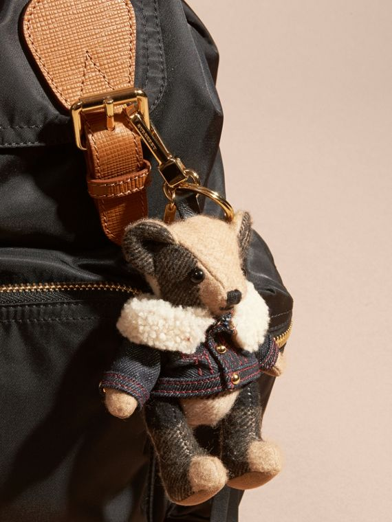 Thomas Bear Charm in Denim Jacket in Camel - Women | Burberry Canada - cell image 2