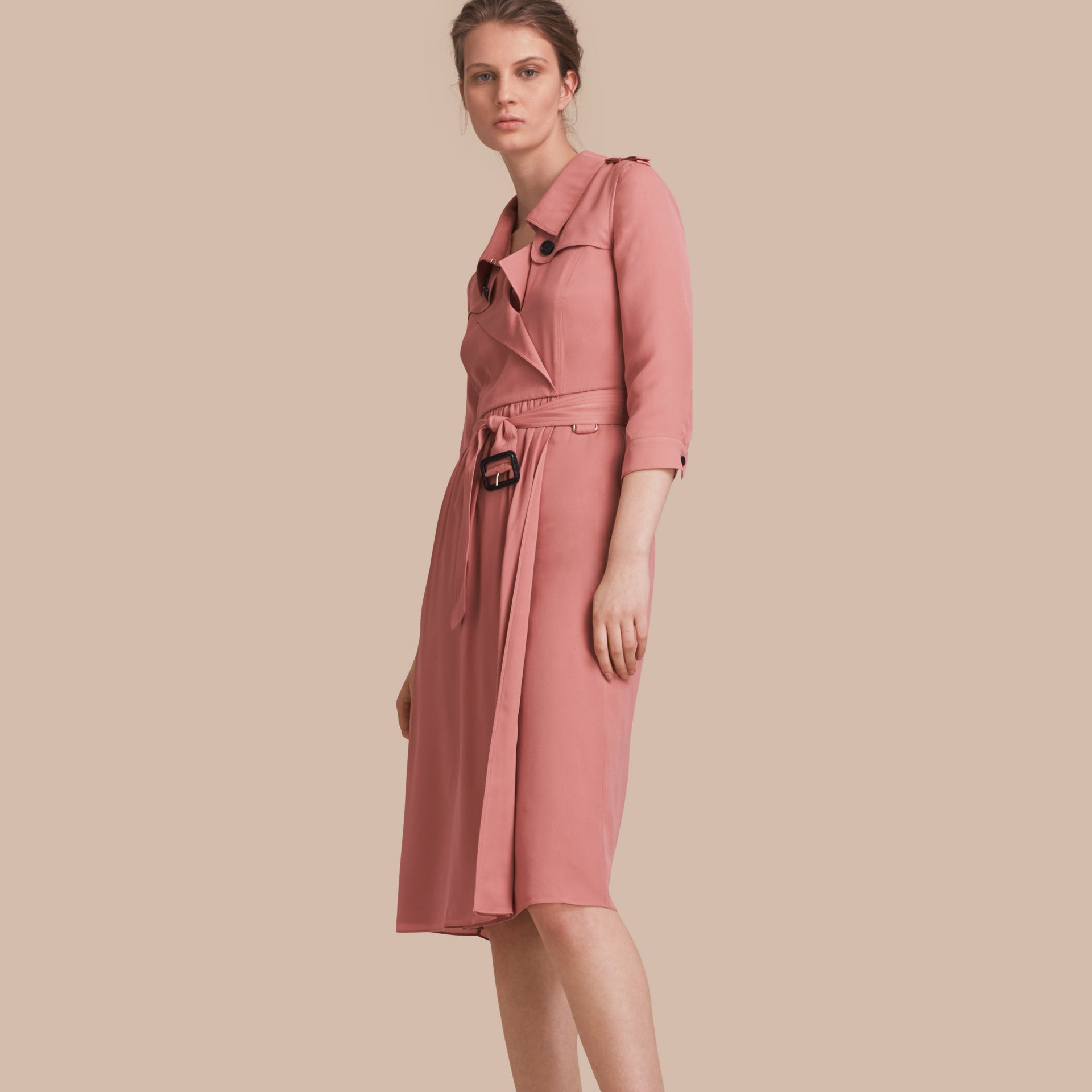 Silk Wrap Trench Dress in Light Copper Pink - gallery image 1