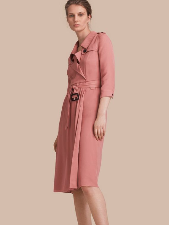Silk Wrap Trench Dress in Light Copper Pink