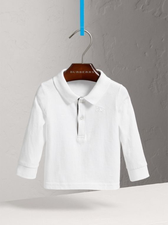 Check Trim Long-sleeved Cotton Polo Shirt in White
