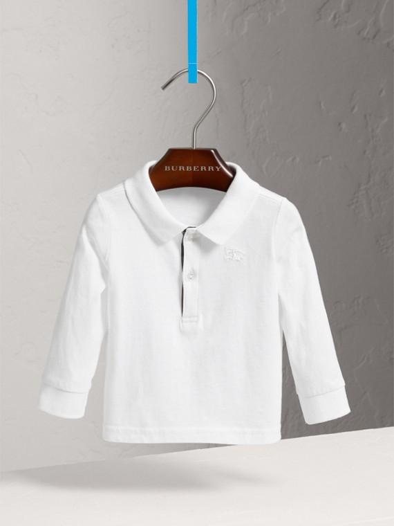 Camisa polo de algodão com mangas longas e detalhe xadrez (Branco)