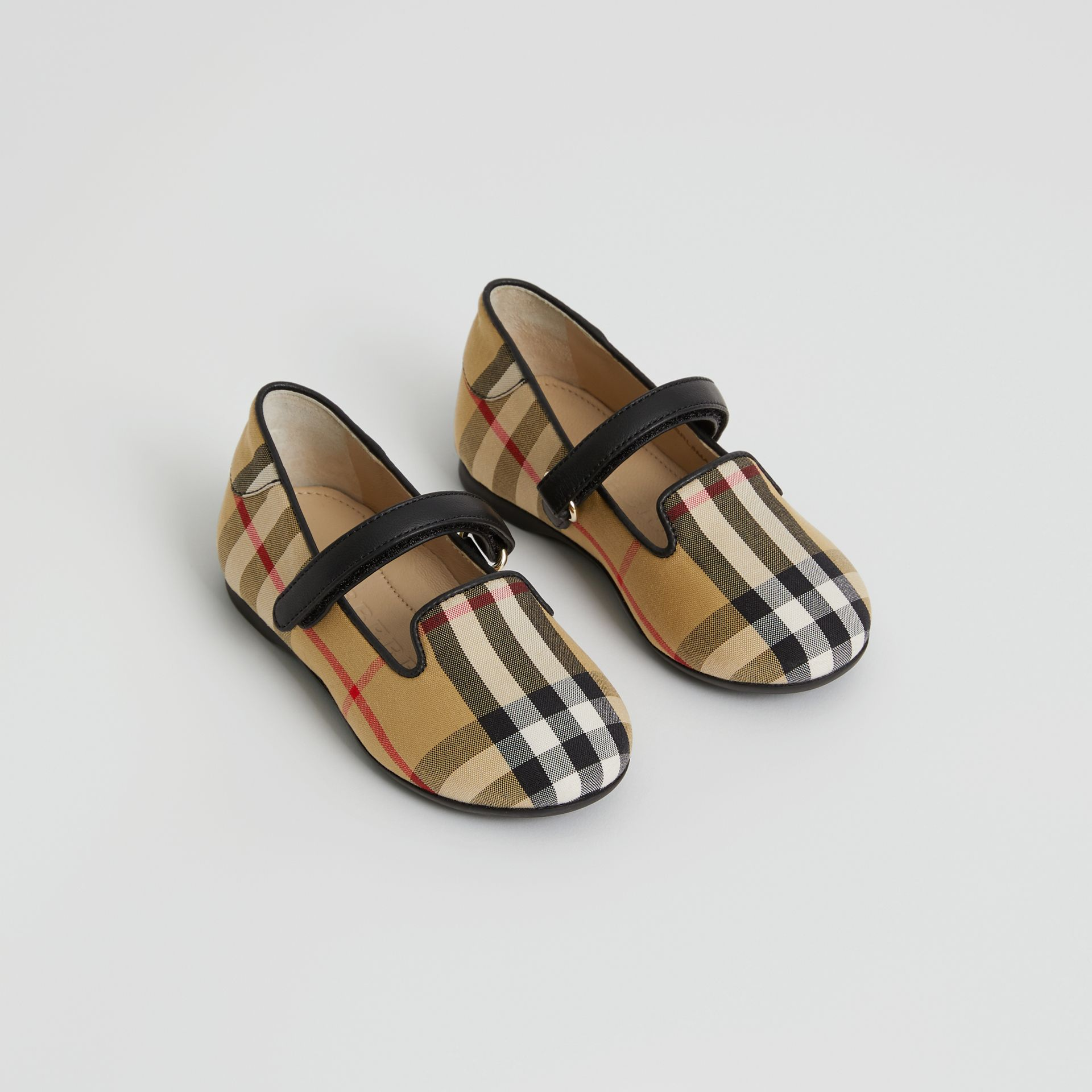D-ring Strap Vintage Check Slippers in Antique Yellow - Children | Burberry United Kingdom - gallery image 0
