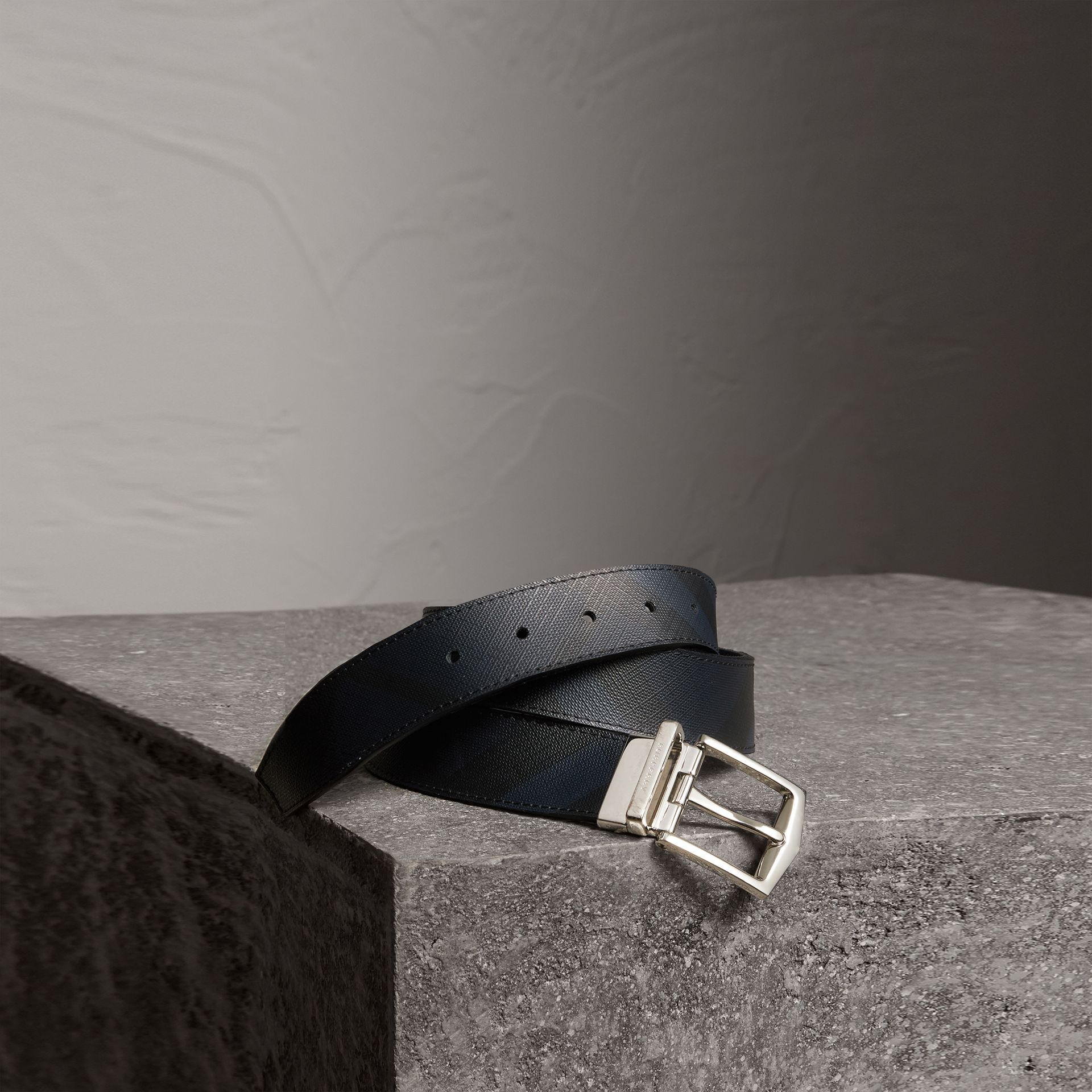 Reversible London Check and Leather Belt in Navy/black - Men | Burberry - gallery image 0
