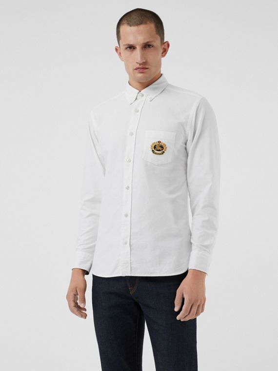 Embroidered Archive Logo Cotton Oxford Shirt in White