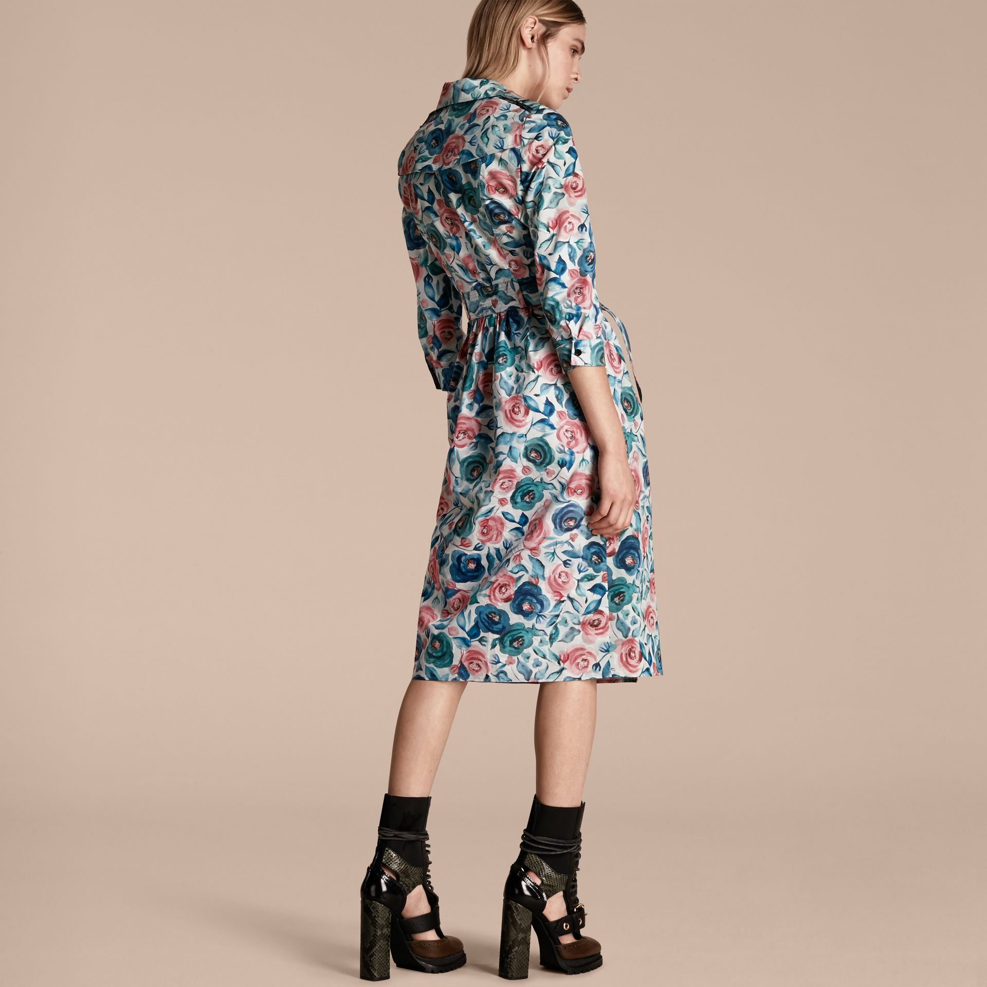 Watercolour Rose Print Cotton Silk Trench Dress - gallery image 3