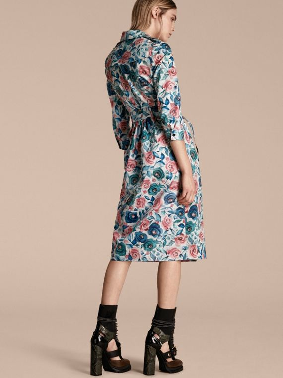 Watercolour Rose Print Cotton Silk Trench Dress - cell image 2