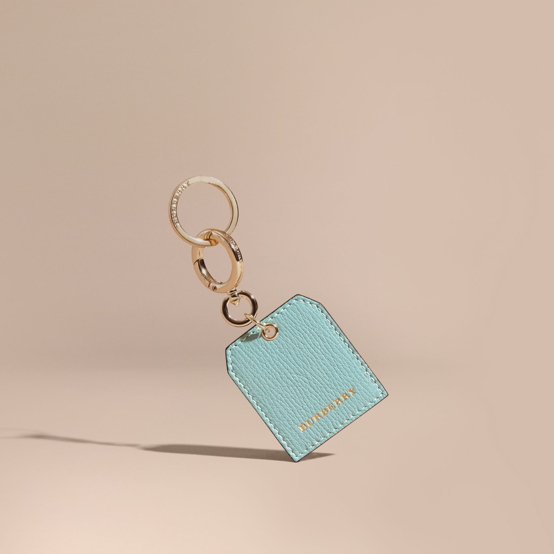 Grainy Leather Key Charm in Pale Opal - Women | Burberry - gallery image 1