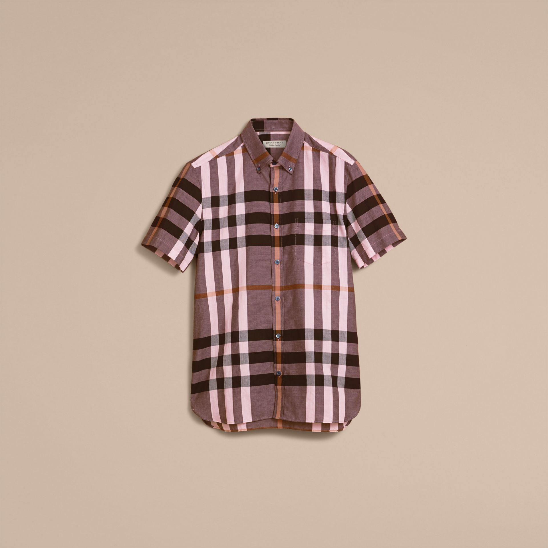 Button-down Collar Short-sleeve Check Cotton Shirt in Antique Rose - gallery image 4