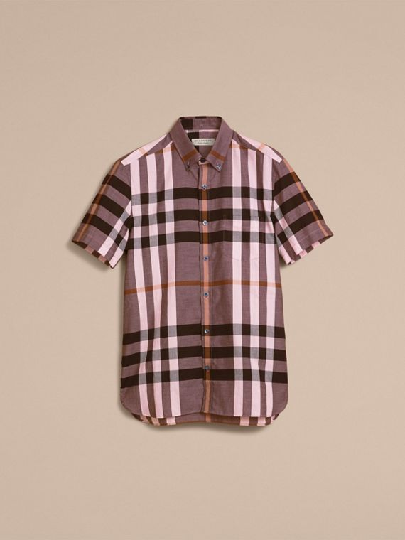 Button-down Collar Short-sleeve Check Cotton Shirt in Antique Rose - cell image 3