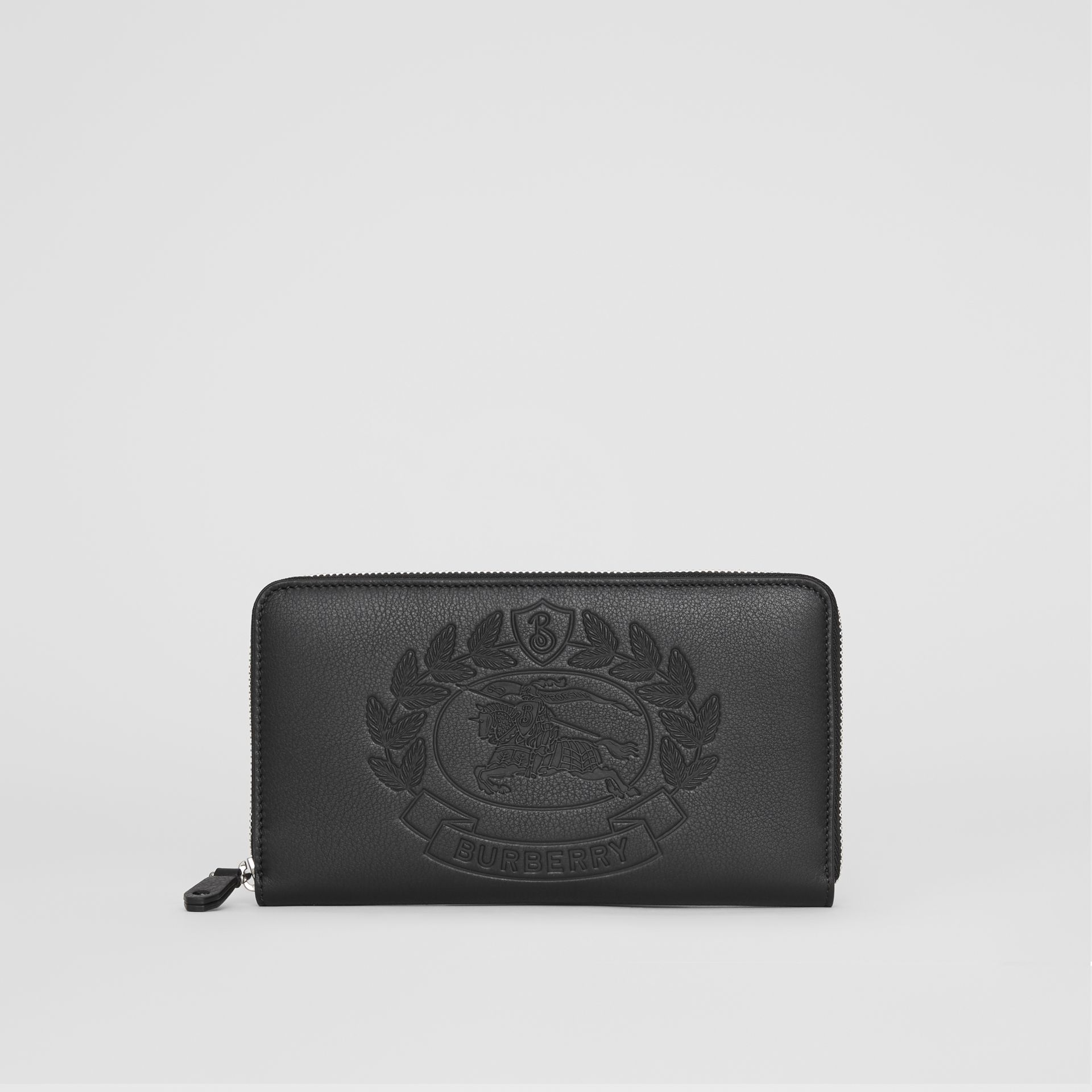 Embossed Crest Leather Ziparound Wallet in Black - Men | Burberry - gallery image 2