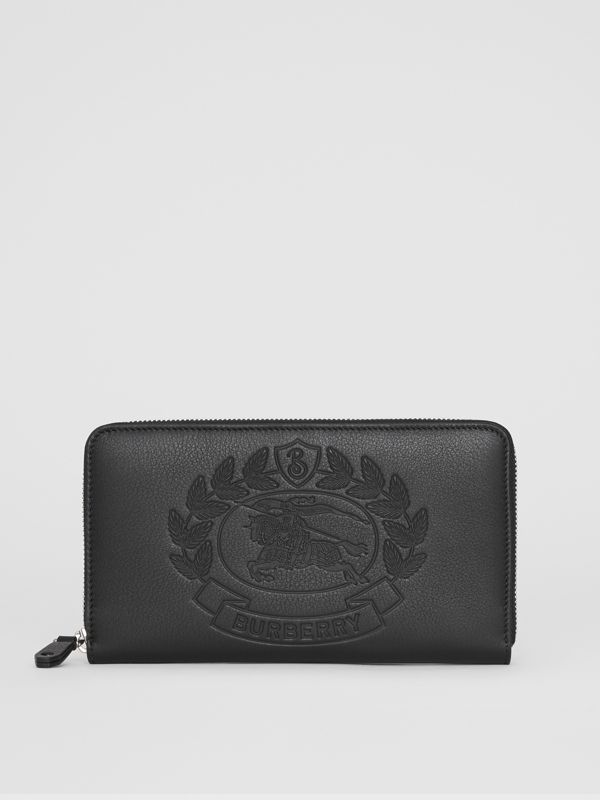 Embossed Crest Leather Ziparound Wallet in Black - Men | Burberry - cell image 2