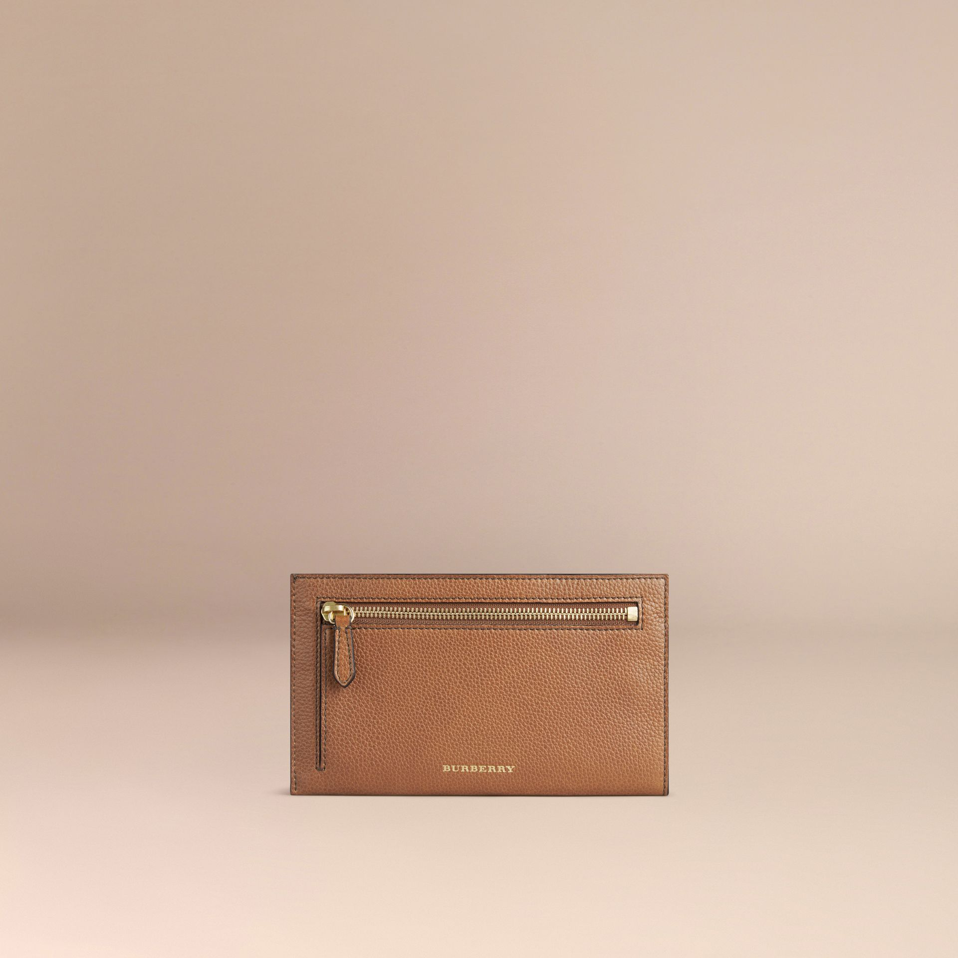 Grainy Leather Travel Case in Tan | Burberry - gallery image 2