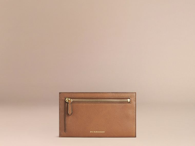 Grainy Leather Travel Case in Tan | Burberry - cell image 1