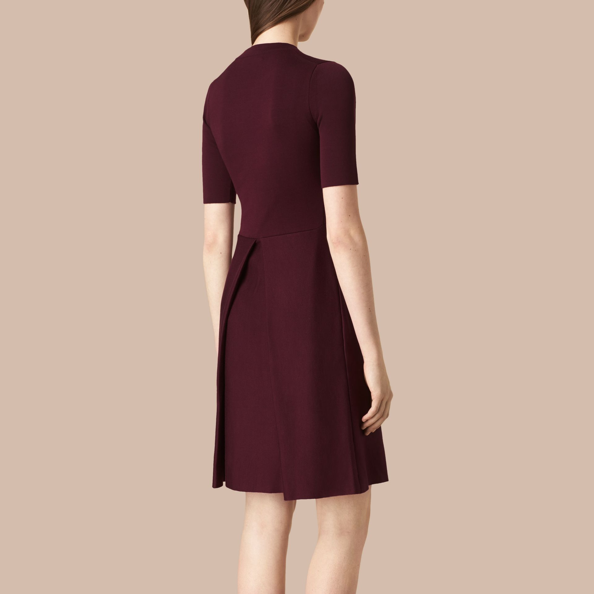 Deep burgundy Knitted Silk Wool Dress Deep Burgundy - gallery image 2