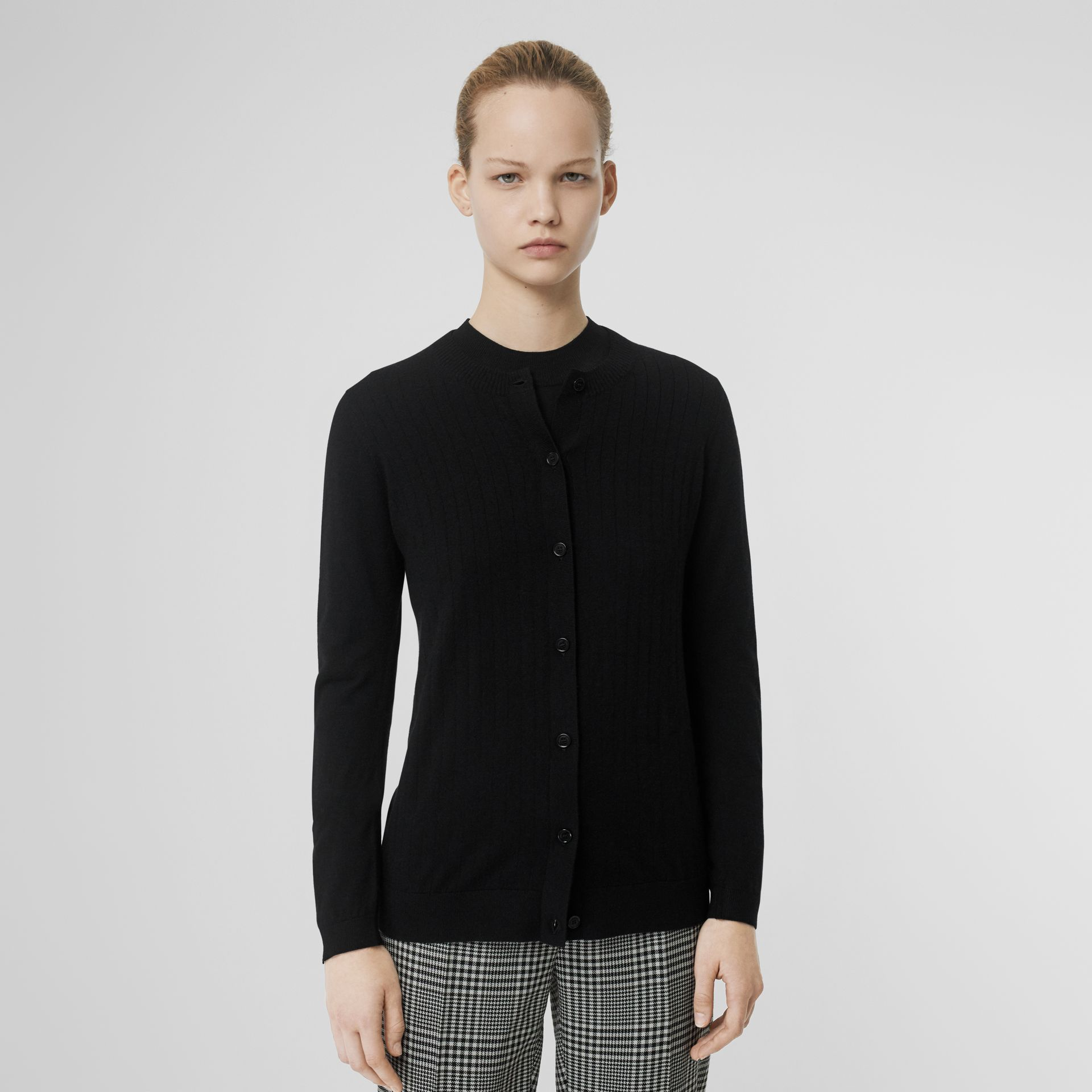 Rib Knit Cashmere Cardigan in Black - Women | Burberry - gallery image 5