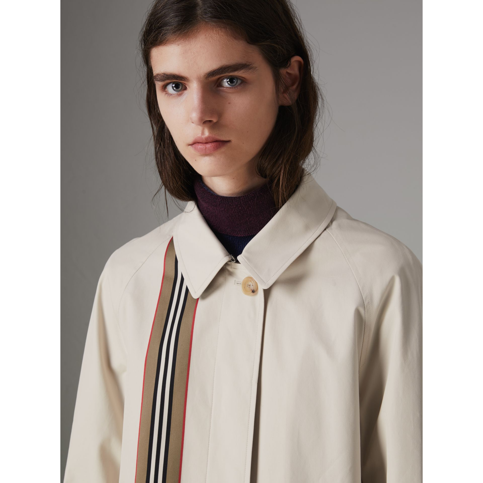 Striped Ribbon Cotton Gabardine Car Coat in Stone - Women | Burberry - gallery image 5