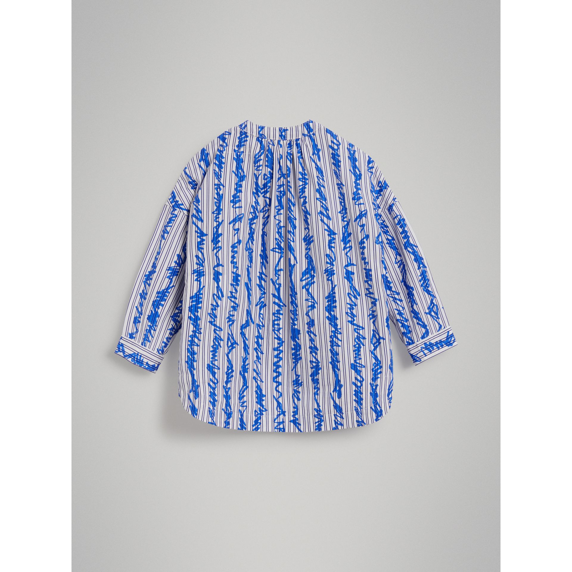 Scribble Stripe Cotton Shirt in Bright Blue - Girl | Burberry - gallery image 3