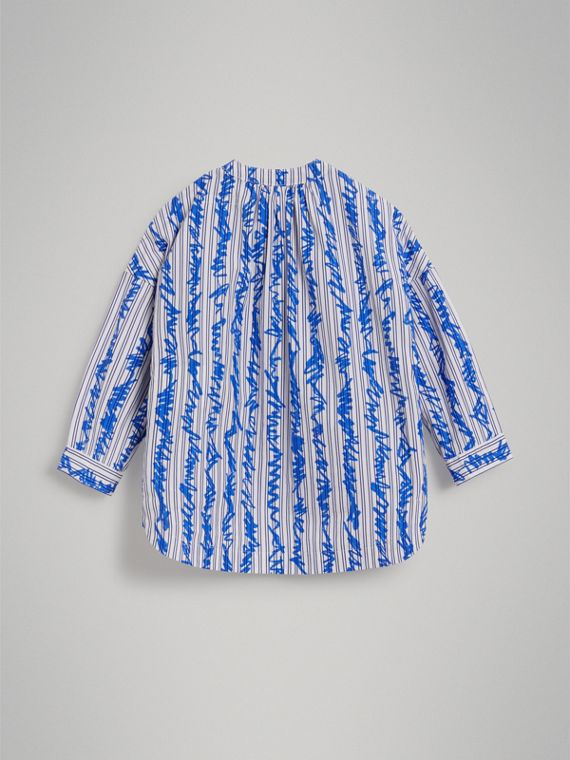 Scribble Stripe Cotton Shirt in Bright Blue - Girl | Burberry - cell image 3