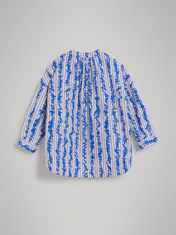 Scribble Stripe Cotton Shirt in Bright Blue | Burberry - cell image 3