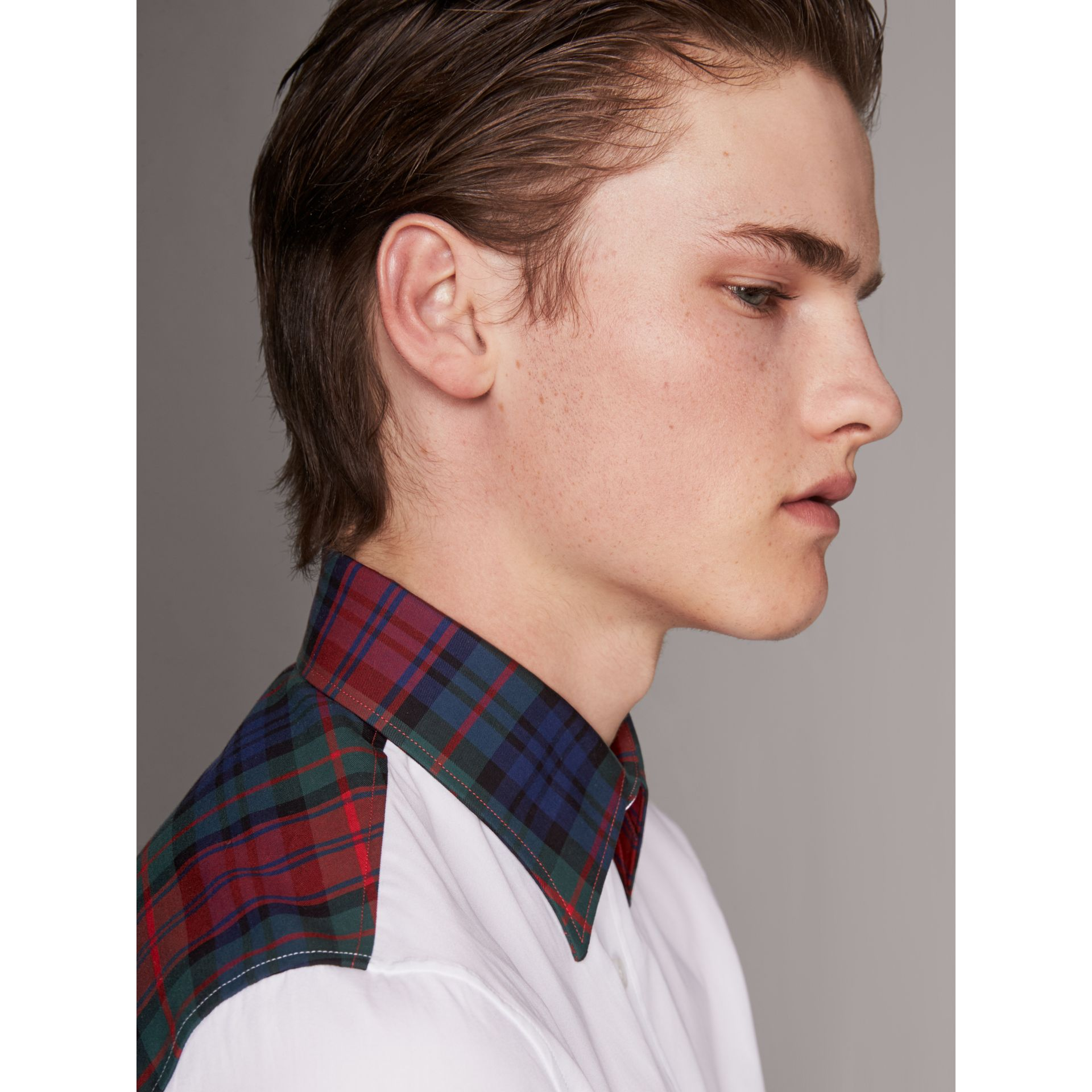 Tartan Cotton Gabardine Detail Cotton Poplin Shirt in White - Men | Burberry United Kingdom - gallery image 1