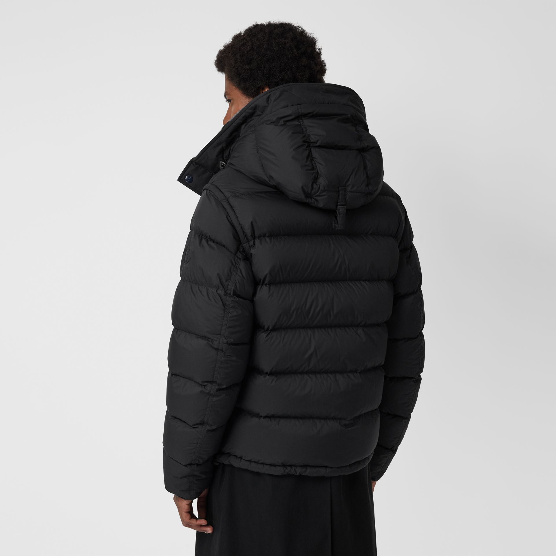 Detachable-sleeve Down-filled Hooded Puffer Jacket in Black - Men | Burberry Canada - gallery image 2